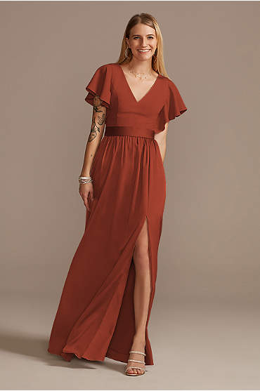 Flutter Sleeve V-Neck Charmeuse Bridesmaid Dress