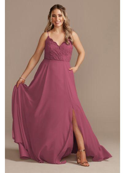 Lace Chiffon Spaghetti Strap Long Bridesmaid Dress - A romantic bridesmaid dress with a stretch lace