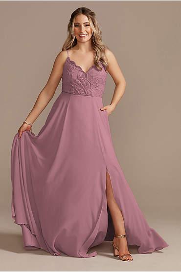 Lace Chiffon Spaghetti Strap Long Bridesmaid Dress
