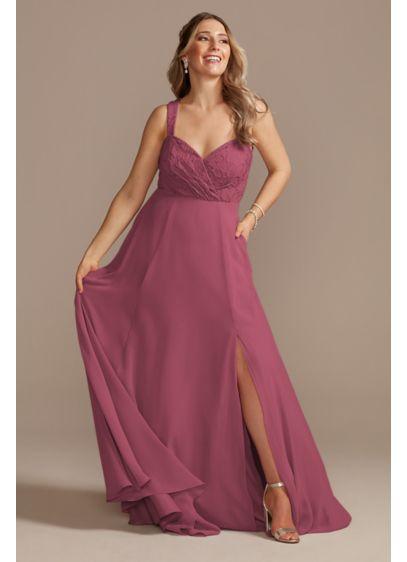 Long Orange Soft & Flowy David's Bridal Bridesmaid Dress