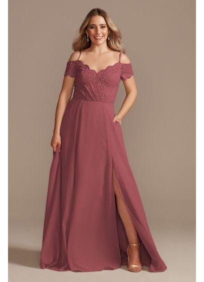 Lace Chiffon Off-Shoulder Long Bridesmaid Dress - A romantic bridesmaid dress with a stretch lace