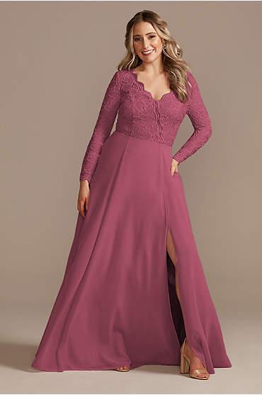 Lace Chiffon Long-Sleeve Long Bridesmaid Dress