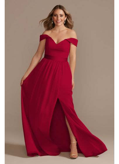 Off-Shoulder Crepe Charmeuse Bridesmaid Dress - A modern bridesmaid dress full of thoughtful details,