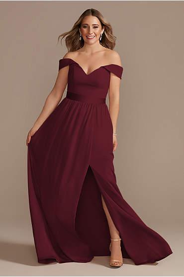 Off-Shoulder Crepe Charmeuse Bridesmaid Dress