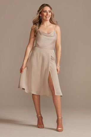 Structured David's Bridal Midi Bridesmaid Dress
