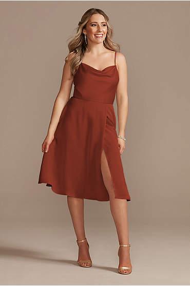 Satin Spaghetti Strap Cowl Midi Bridesmaid Dress