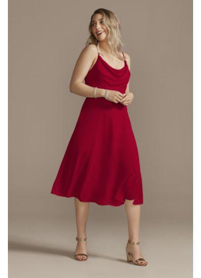 Midi Pink Soft & Flowy David's Bridal Bridesmaid Dress