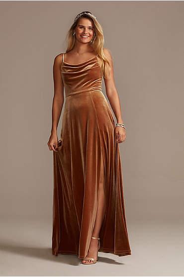 Velvet Cowl Neck Spaghetti Strap Bridesmaid Dress