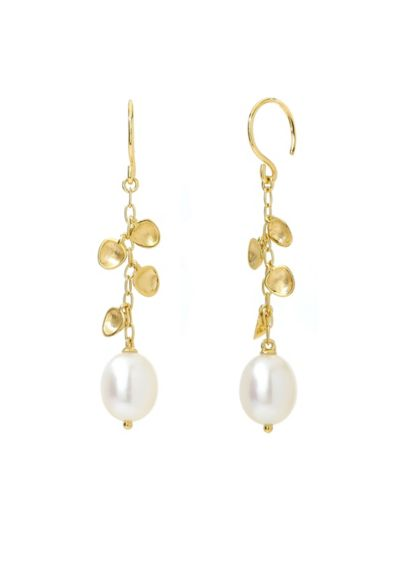 18k Gold and Freshwater Pearl Dangle Earrings - Add a beach vibe to your bridal look