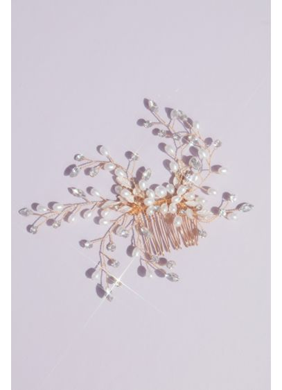 Pearl and Crystal Wire Branch Gilded Comb - Wedding Accessories