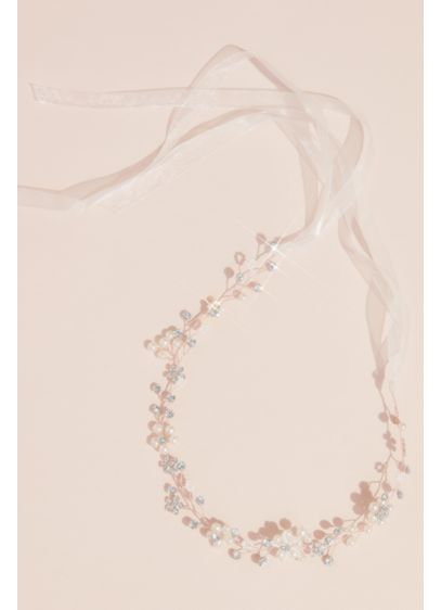 Budding Floral Pearl and Crystal Gilded Head Piece - Pearls surround blooming crystal florals to create this