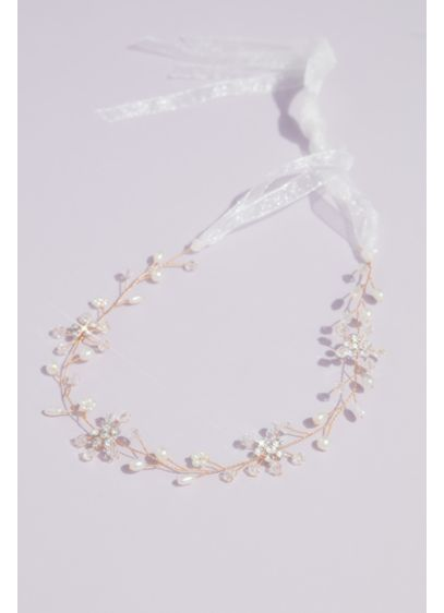 Pearl and Crystal Florals Wiry Branch Head Piece - Wedding Accessories