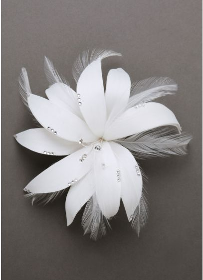 Feather Flower Hairpiece with Crystals - Wedding Accessories
