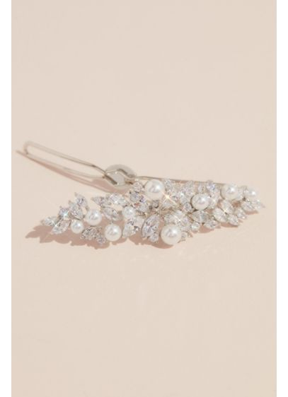 Leafy Cubic Zirconia and Pearl Hair Pin - Wedding Accessories
