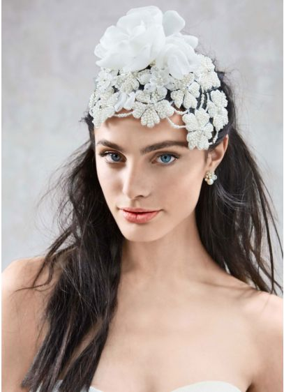 Large Pearl 3D Floral Headpiece - Wedding Accessories