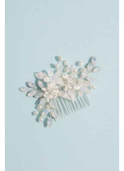 Opal Floral Spray Comb - Wedding Accessories