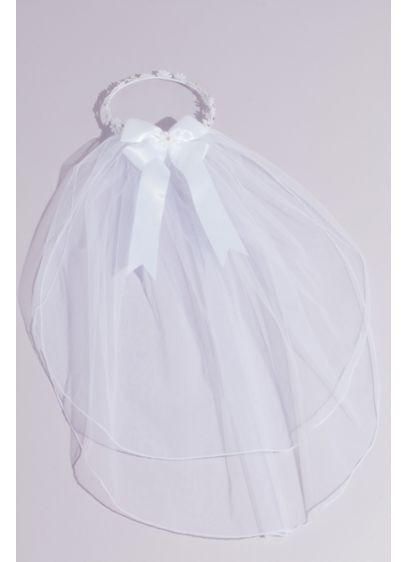 Daisy Chain Two Tier Communion Veil with Bow - This sweet communion veil is detailed with a