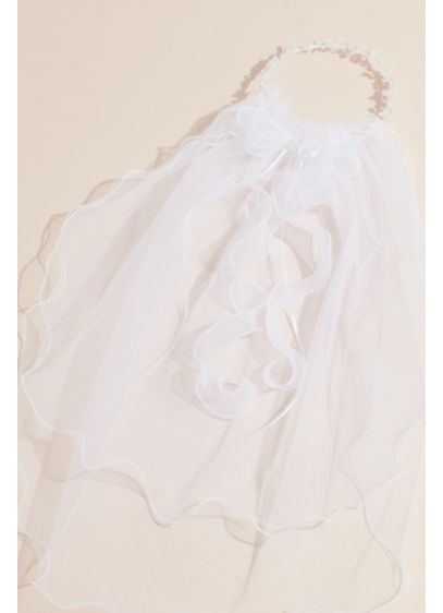 Curly Tulle Two Tier Communion Veil - Featuring double layers of curly tulle and a