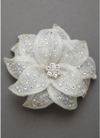 Fabric Flower Clip with Rhinestones - Wedding Accessories