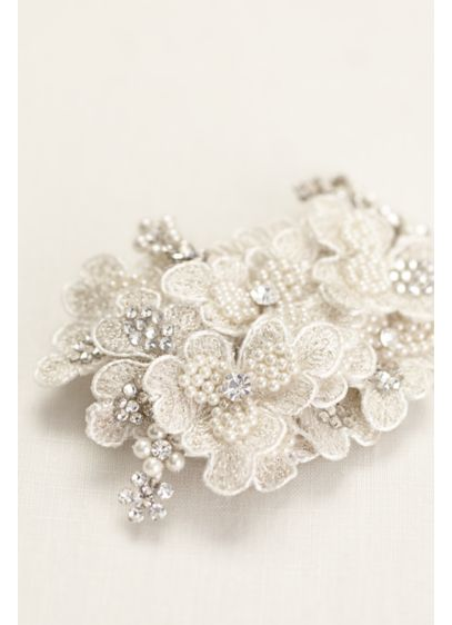 Embroidered Pearl Flower Clip - Wedding Accessories