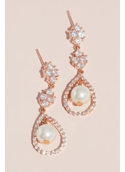 Crystal Cluster Earrings with Pave and Pearl Drop - Tiers of crystal clusters meet a pear-shaped drop.