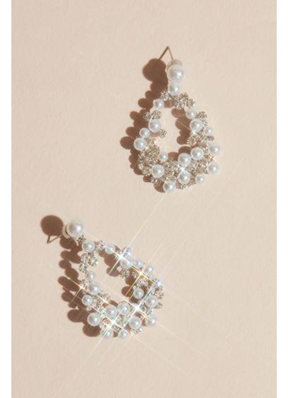 Pearl and Crystal Statement Teardrop Earrings - Wedding Accessories