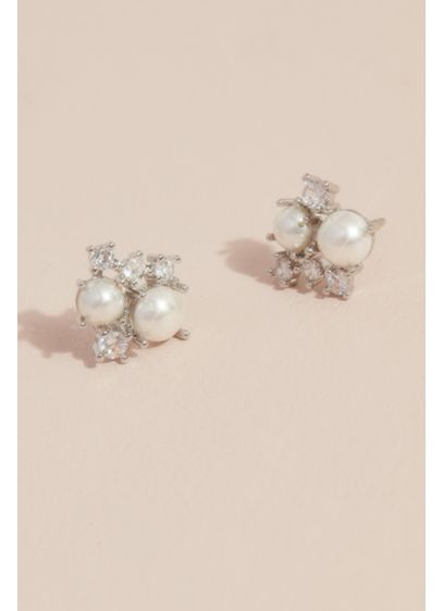 Pearl and Crystal Cluster Posts - Wedding Accessories
