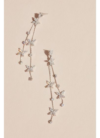 Cubic Zirconia Flower Garland Earrings - Sparkling cubic zirconia petals float along sweeping chains