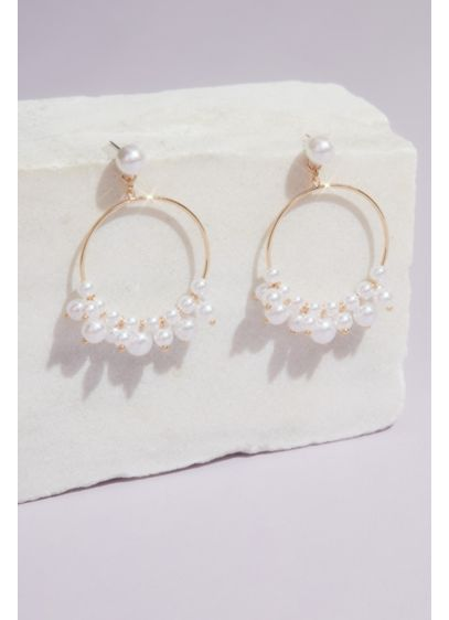 Pearl Jumble Post Hoops - A fun and flirty take on pearls, draped