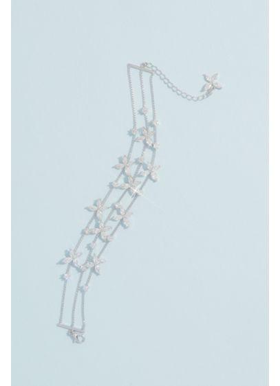 Cubic Zirconia Flower Garland Chain Bracelet - Sparkling cubic zirconia petals float along a slinky