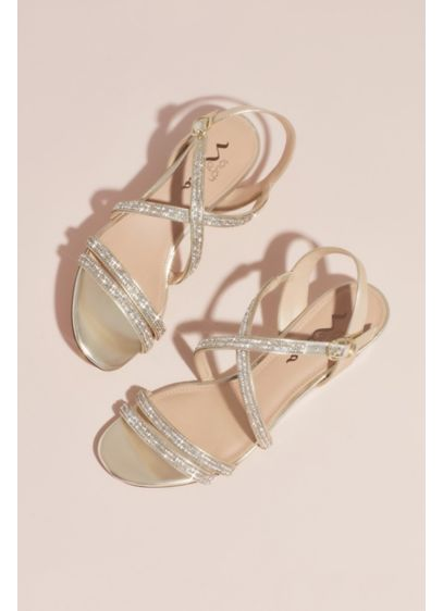 Crystal Crisscross Strap Low Wedge Sandals - With rows of crystal sparkle, these strappy wedge