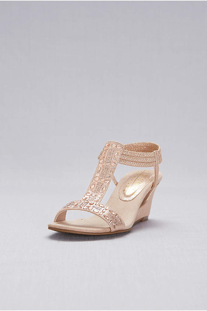 Crystal-Studded Cutout T-Strap Wedges - Amp up the shine with this metallic wedge