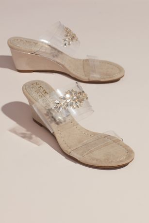 New York Transit Beige;Grey Wedges (Clear Strap Wedges with Crystal Embellishments)