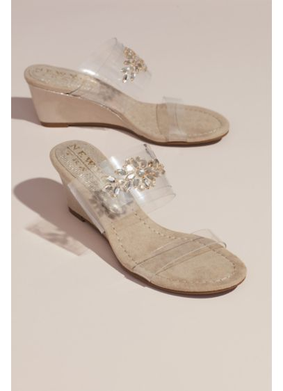 Clear Strap Wedges with Crystal Embellishments - Two clear straps give this crystal-topped pair of
