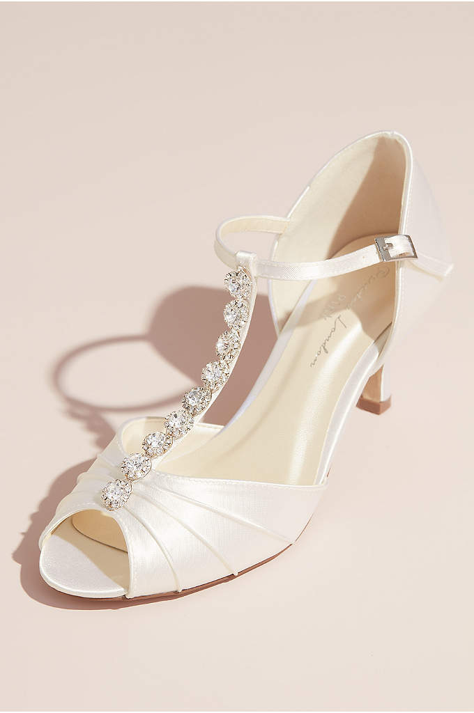 Dyeable Satin Peep Toe T-Strap Heels with Crystals