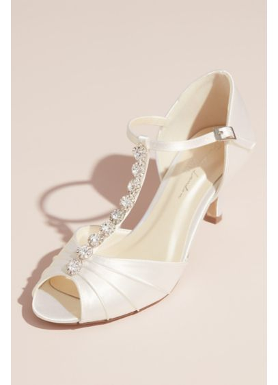 Dyeable Satin Peep Toe T-Strap Heels with Crystals - This stunning pair of dyeable satin peep-toe pumps