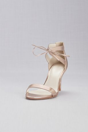 David's Bridal Pink Heeled Sandals (Metallic Ankle-Tied Sandals)