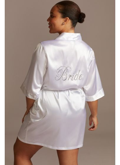 David's Bridal White (Embroidered Satin Bride Robe)