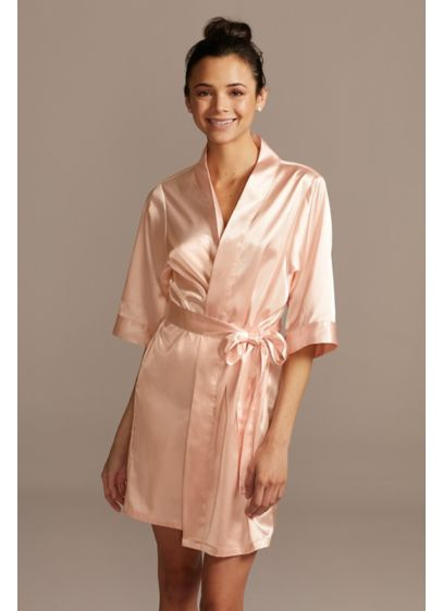 Orange (Short Sleeve Satin Robe with Trim)