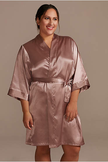 Short Sleeve Satin Robe with Trim