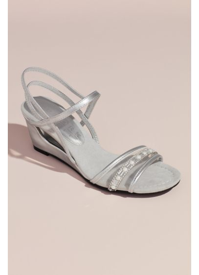 Metallic Clear Vamp Wedges with Embellishments - Pearls and crystals adorn the clear vamp on