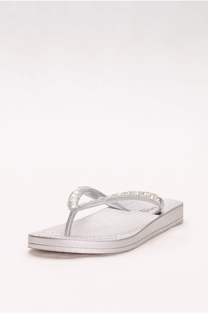 Molded Footbed Flip Flops with Bold Crystal Straps - Comfy contoured footbeds and bold crystal straps make