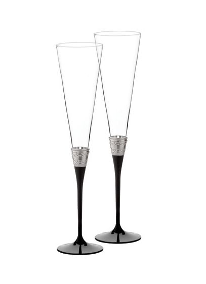 Vera Wang With Love Black Noir Toasting Flute Pair - Wedding Gifts & Decorations