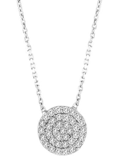 Small CZ Pave Disc Pendant - Wedding Accessories
