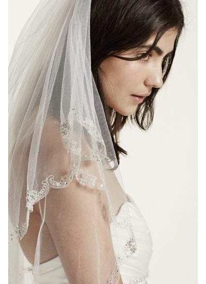 Two Tier Lace Edge Mid Veil - Wedding Gifts & Decorations