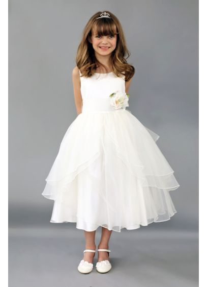 0c86e35cfcd Tank Flower Girl Dress with Floral Applique Detail