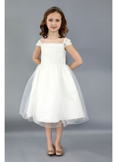 Cap Sleeve Embroidered Illusion Flower Girl Gown - She'll look lovely in this elegant illusion cap-sleeve