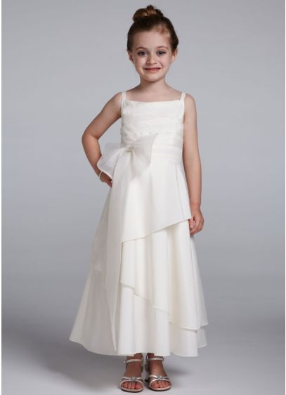 Long A-Line Spaghetti Strap Communion Dress - David's Bridal
