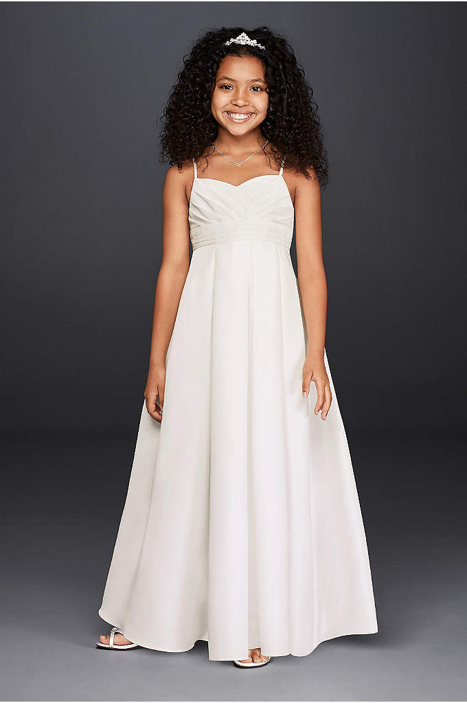 Full Length Flower Girl Dress with Straps - This faille strapless ball gown with sweetheart neckline