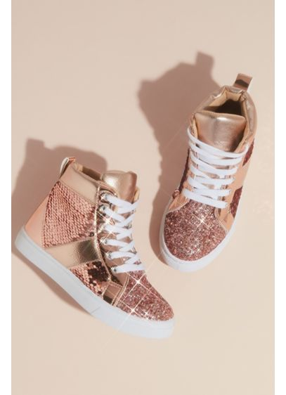 Capelli Pink (Girls Metallic Sequin Glitter High Top Sneakers)